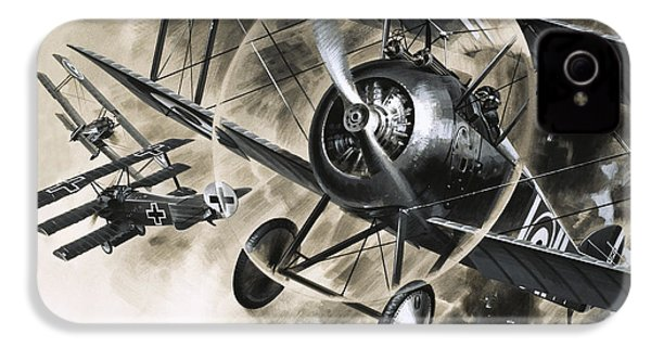 Dog Fight Between British Biplanes And A German Triplane IPhone 4 / 4s Case by Wilf Hardy