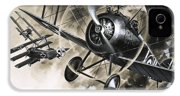 Dog Fight Between British Biplanes And A German Triplane IPhone 4 Case by Wilf Hardy