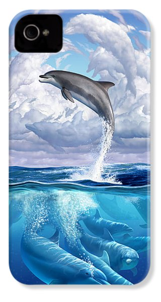 Dolphonic Symphony IPhone 4 Case by Jerry LoFaro