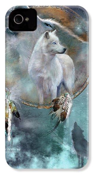 Dream Catcher - Spirit Of The White Wolf IPhone 4 Case by Carol Cavalaris