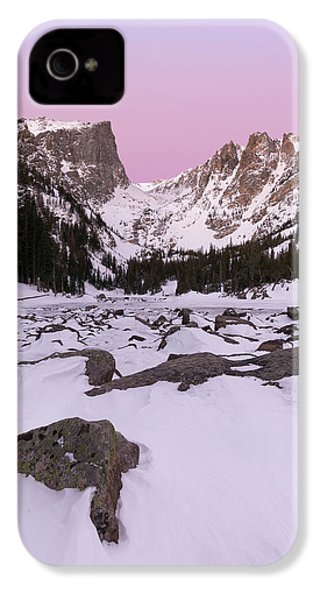 IPhone 4 Case featuring the photograph Dream Lake Winter Vertical by Aaron Spong