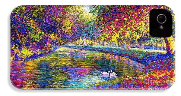 Drifting Beauties, Swans, Colorful Modern Impressionism IPhone 4 Case