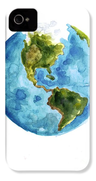 Earth America Watercolor Poster IPhone 4 / 4s Case by Joanna Szmerdt