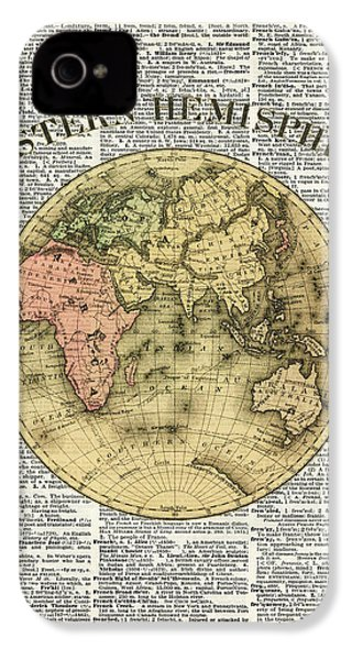 Eastern Hemisphere Earth Map Over Dictionary Page IPhone 4 / 4s Case by Jacob Kuch