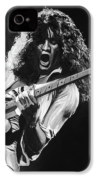 Eddie Van Halen - Black And White IPhone 4 Case by Tom Carlton