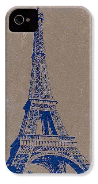 Eiffel Tower Blue IPhone 4 Case by Naxart Studio