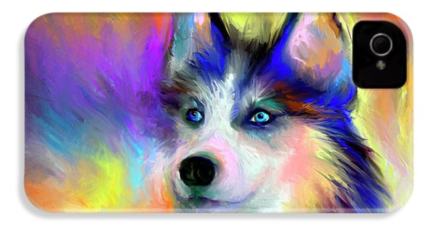 Electric Siberian Husky Dog Painting IPhone 4 Case
