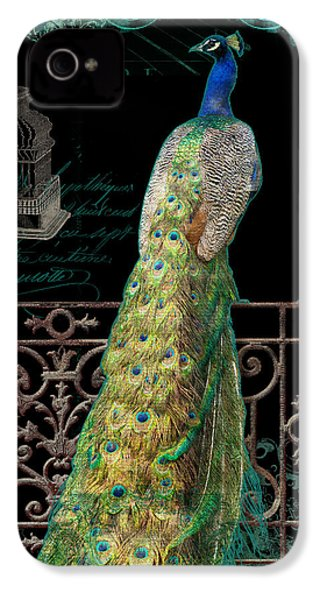 Elegant Peacock Iron Fence W Vintage Scrolls 4 IPhone 4 / 4s Case by Audrey Jeanne Roberts