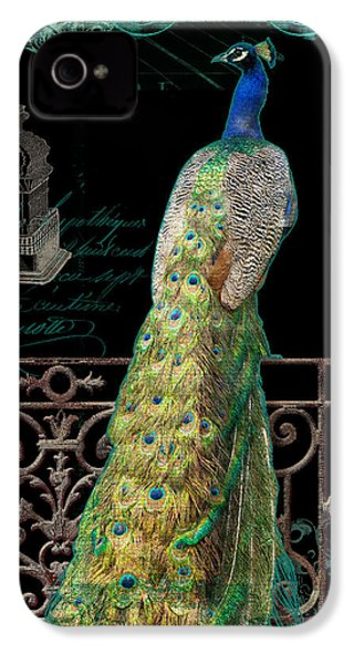 Elegant Peacock Iron Fence W Vintage Scrolls 4 IPhone 4 Case by Audrey Jeanne Roberts