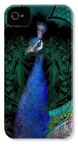 Elegant Peacock W Vintage Scrolls  IPhone 4 Case