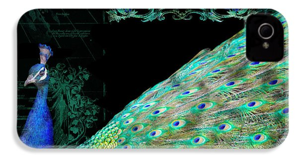 Elegant Peacock W Vintage Scrolls Typography 4 IPhone 4 Case by Audrey Jeanne Roberts