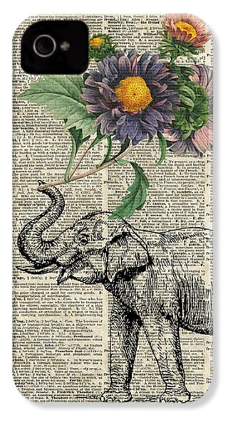 Elephant With Flowers IPhone 4 / 4s Case by Jacob Kuch