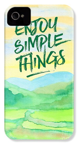 Enjoy Simple Things Rice Paddies Watercolor Painting IPhone 4 / 4s Case by Beverly Claire Kaiya