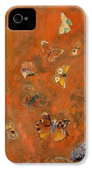 Evocation Of Butterflies IPhone 4 / 4s Case by Odilon Redon