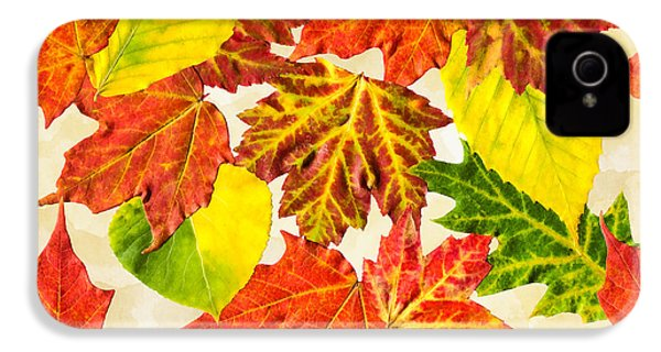 IPhone 4 Case featuring the mixed media Fall Leaves Pattern by Christina Rollo