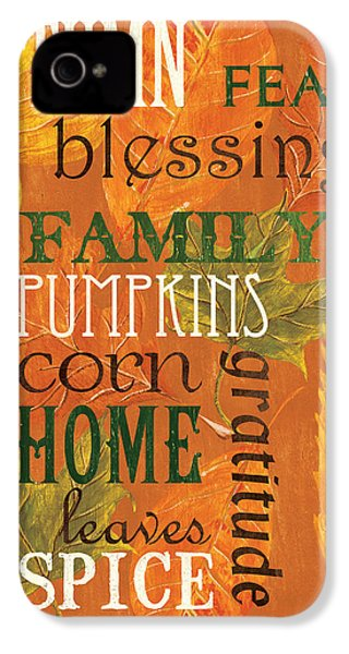 Fall Typography 1 IPhone 4 / 4s Case by Debbie DeWitt