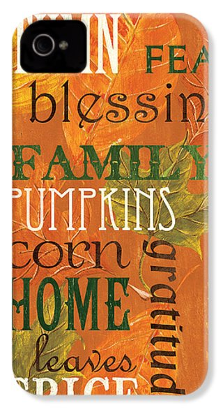 Fall Typography 1 IPhone 4 Case by Debbie DeWitt