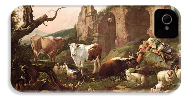Farm Animals In A Landscape IPhone 4 Case by Johann Heinrich Roos
