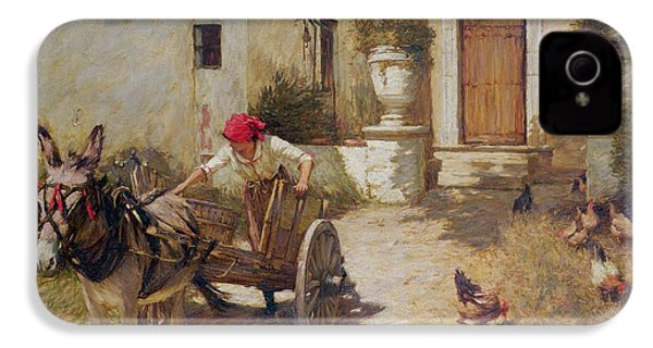 Farm Yard Scene IPhone 4 / 4s Case by Henry Herbert La Thangue