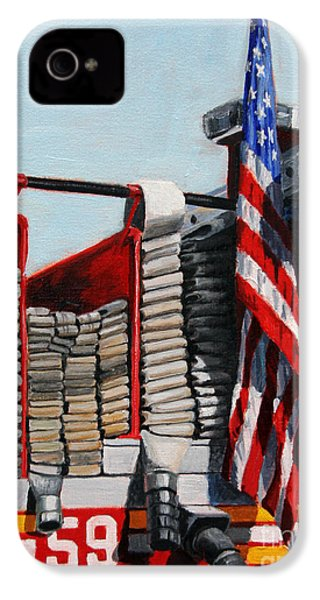 Fdny Engine 59 American Flag IPhone 4 Case by Paul Walsh