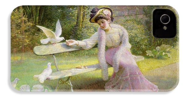 Feeding The Doves  IPhone 4 Case by Edmond Alphonse Defonte