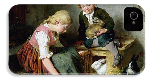 Feeding The Rabbits IPhone 4 Case by Felix Schlesinger