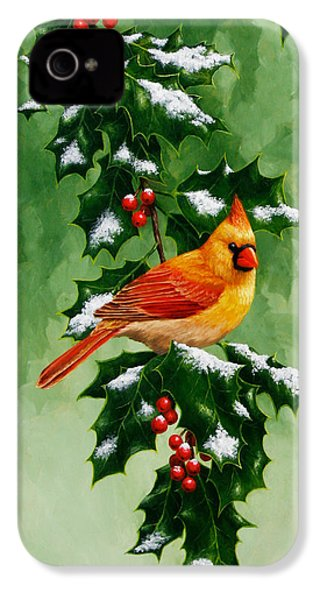 Female Cardinal And Holly Phone Case IPhone 4 / 4s Case by Crista Forest