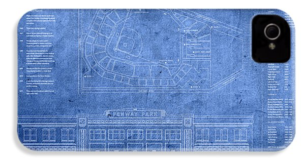 Fenway Park Blueprints Home Of Baseball Team Boston Red Sox On Worn Parchment IPhone 4 Case by Design Turnpike
