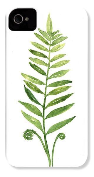 Fern Leaf Watercolor Painting IPhone 4 Case by Joanna Szmerdt