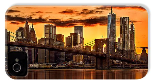 Fiery Sunset Over Manhattan  IPhone 4 Case by Az Jackson