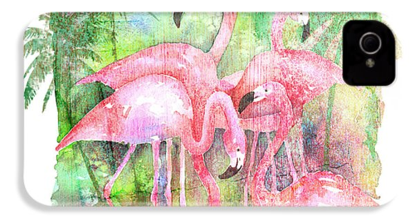 Flamingo Five IPhone 4 Case by Arline Wagner