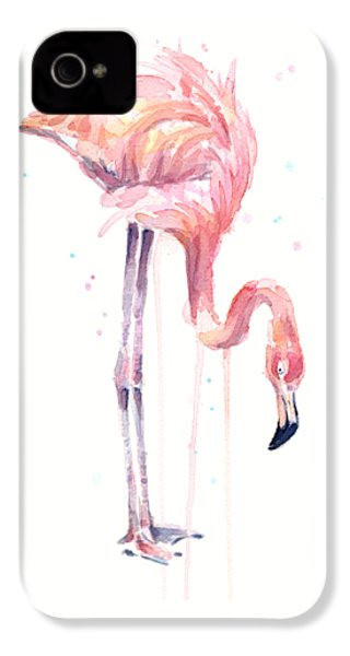 Flamingo Illustration Watercolor - Facing Left IPhone 4 / 4s Case by Olga Shvartsur