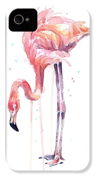 Flamingo Illustration Watercolor - Facing Left IPhone 4 Case