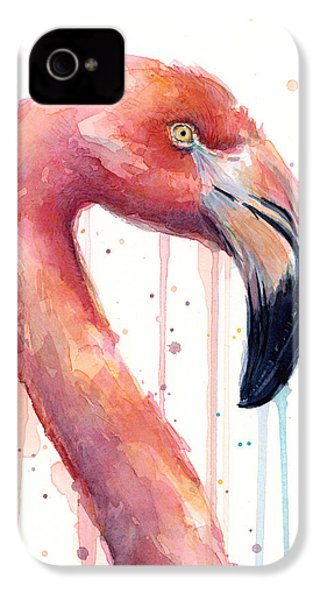 Flamingo Painting Watercolor - Facing Right IPhone 4 / 4s Case by Olga Shvartsur