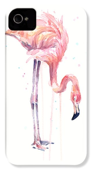 Flamingo Watercolor - Facing Left IPhone 4 / 4s Case by Olga Shvartsur