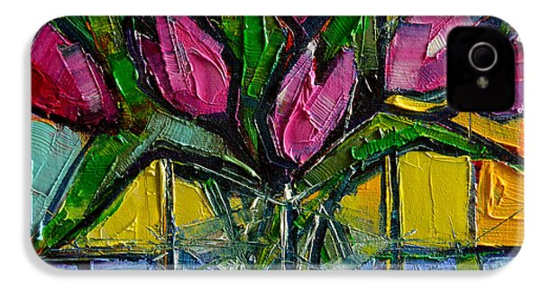Floral Miniature - Abstract 0615 - Pink Tulips IPhone 4 / 4s Case by Mona Edulesco