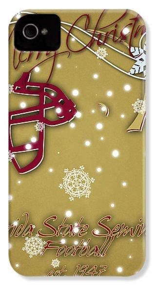 Florida State Seminoles Christmas Card 2 IPhone 4 Case by Joe Hamilton