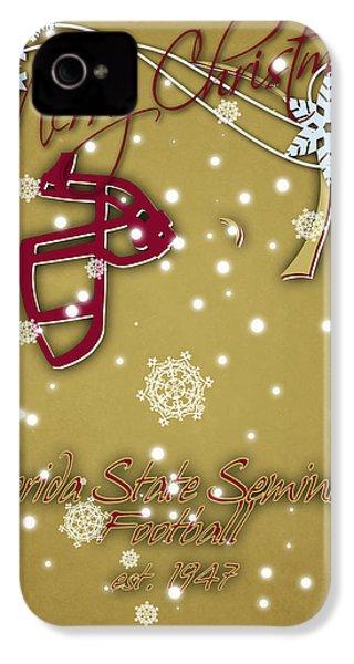 Florida State Seminoles Christmas Card 2 IPhone 4 / 4s Case by Joe Hamilton