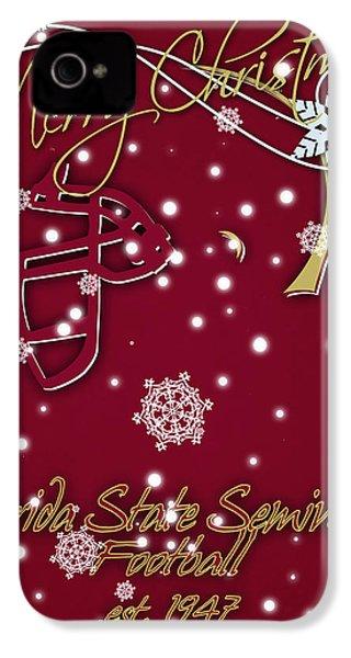 Florida State Seminoles Christmas Card IPhone 4 Case by Joe Hamilton