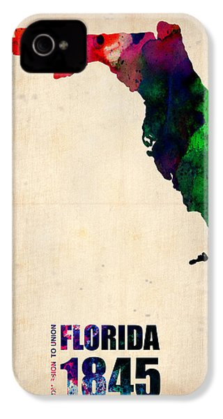 Florida Watercolor Map IPhone 4 Case by Naxart Studio