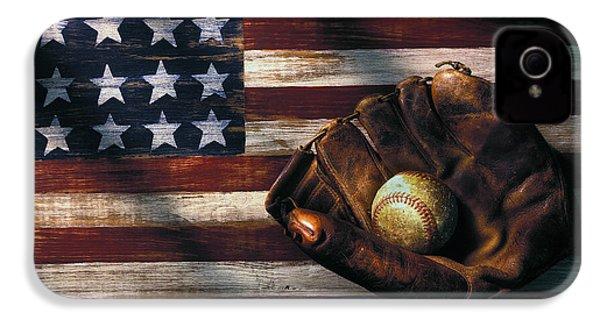 Folk Art American Flag And Baseball Mitt IPhone 4 / 4s Case by Garry Gay