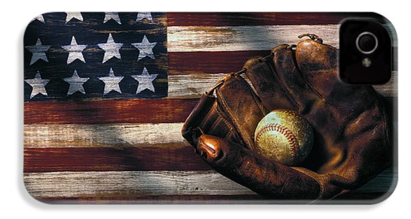 Folk Art American Flag And Baseball Mitt IPhone 4 Case