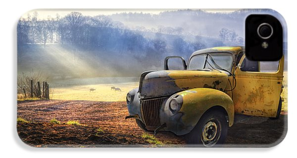 Ford In The Fog IPhone 4 Case by Debra and Dave Vanderlaan