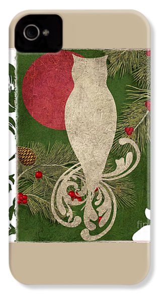 Forest Holiday Christmas Owl IPhone 4 Case by Mindy Sommers