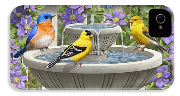 Fountain Festivities - Birds And Birdbath Painting IPhone 4 / 4s Case by Crista Forest