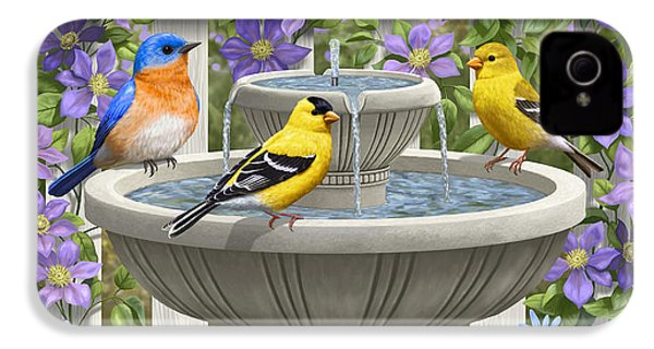 Fountain Festivities - Birds And Birdbath Painting IPhone 4 Case