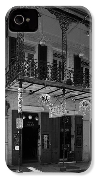 Fritzel's European Jazz Pub In Black And White IPhone 4 Case by Chrystal Mimbs