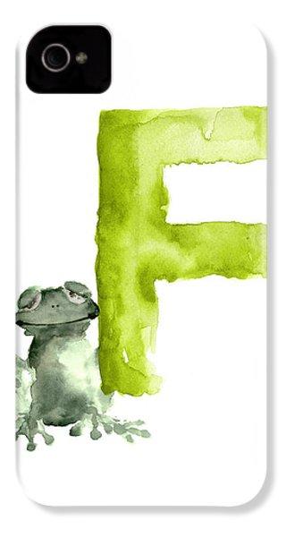 Frog Watercolor Alphabet Painting IPhone 4 Case by Joanna Szmerdt