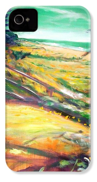 IPhone 4 Case featuring the painting From The Lawn Pandanus by Winsome Gunning