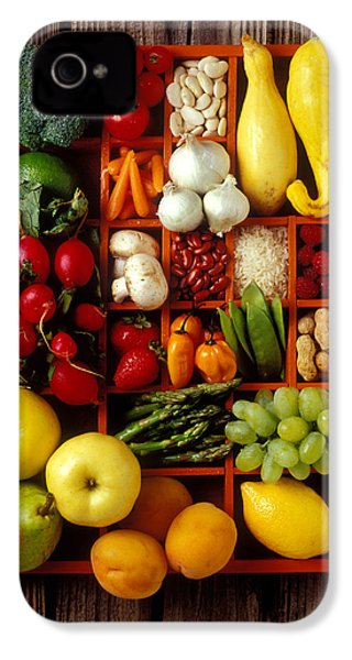 Fruits And Vegetables In Compartments IPhone 4 Case by Garry Gay